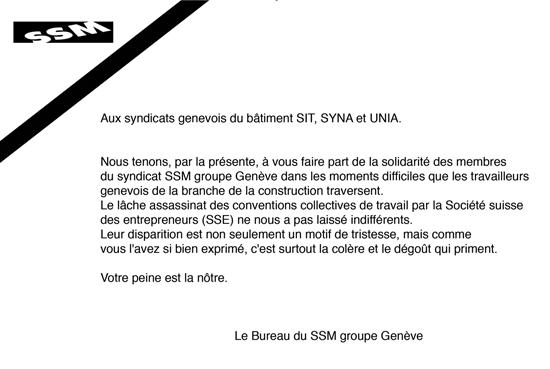 lettre de condoléance du SSM   Communauté genevoise d'action syndicale